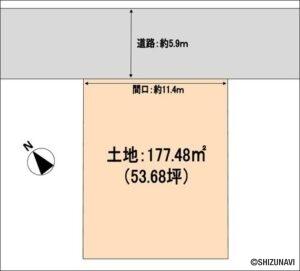 静岡市葵区駒形通6丁目 整形地 建築条件無し 間口10m以上 土地面積50坪以上